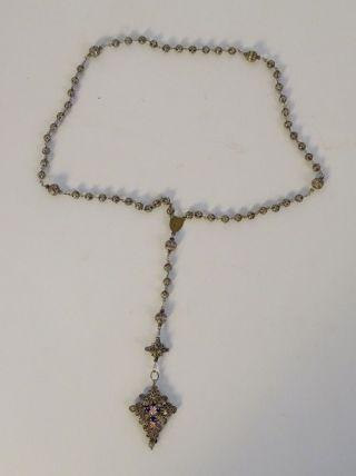 Ausgefallener Antiker Rosenkranz Großes Kreuz Blau Silber Religiöse Volkskunst Bild