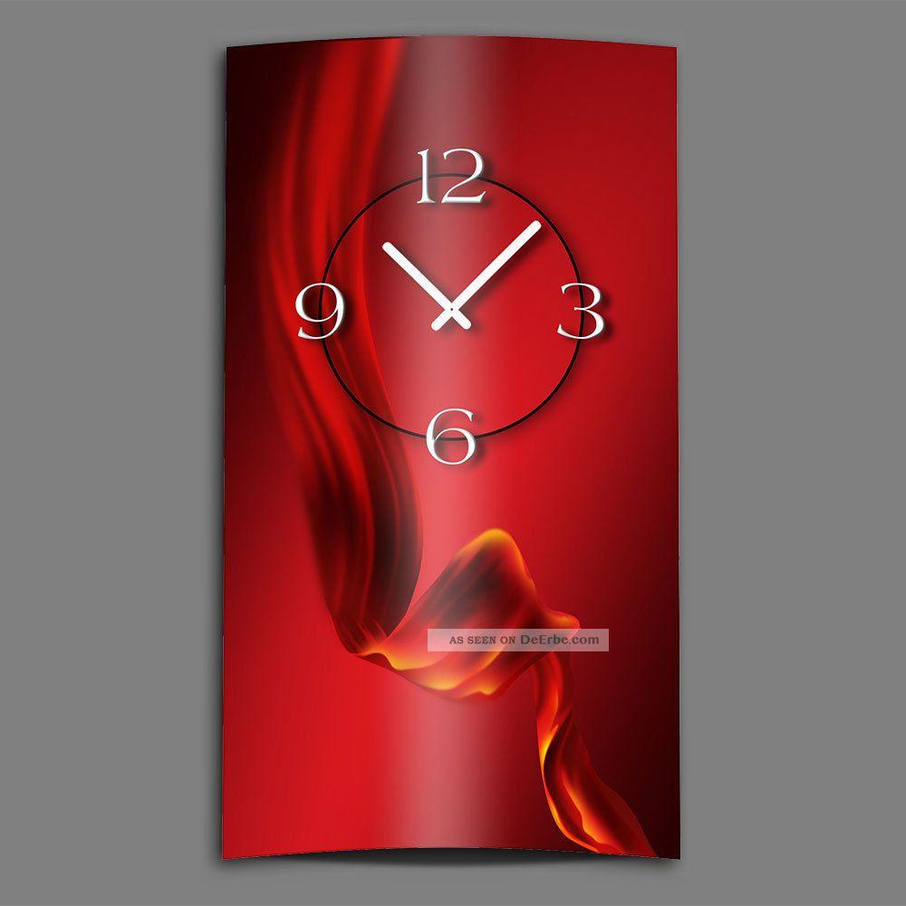 Abstrakt seide rot hochkant designer wanduhr modernes for Designer wanduhren modern