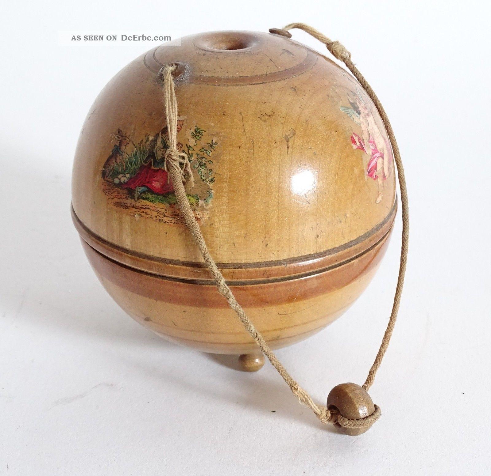 Antike Biedermeier Wollkugel Vor 1900 Strickkugel Aus Holz Stick Zubehör Rarität Holzarbeiten Bild