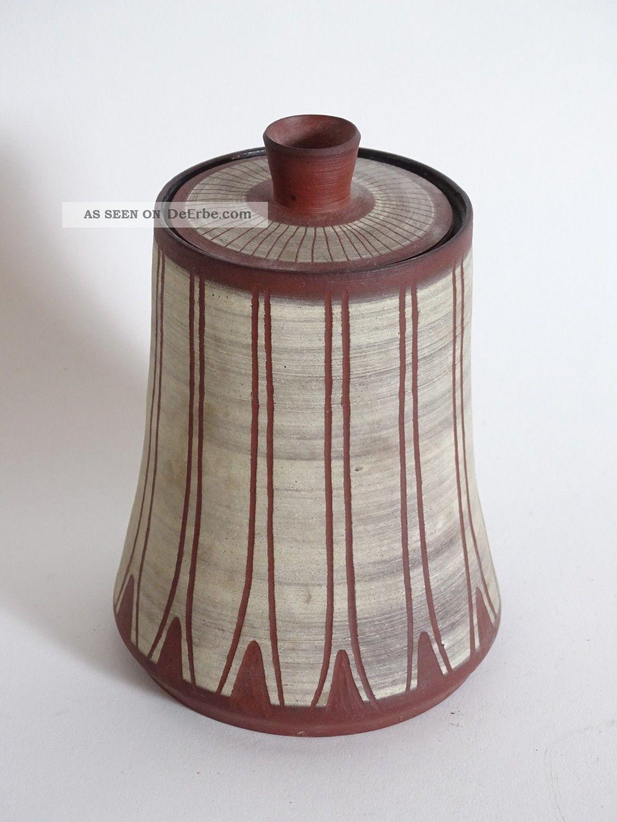Mid Century 50er Jahre Studio Design Keramik Deckel Vase Ausgefallenes Design 1950-1959 Bild