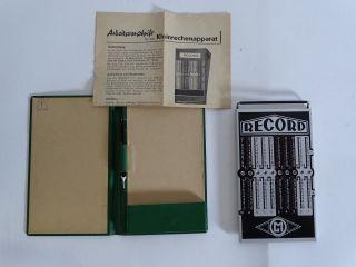 Ältere Record Rechenmaschine Kleinrechenapparat Beschreibung Rarität Bild
