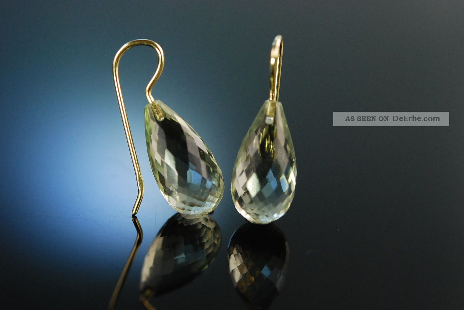 Drop Earrings Ohrringe Facettierte Prasiolith Tropfen