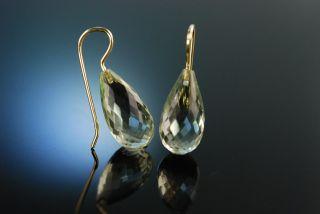 Drop Earrings Ohrringe Facettierte Prasiolith Tropfen GrÜner Amethyst Gold 585 Bild