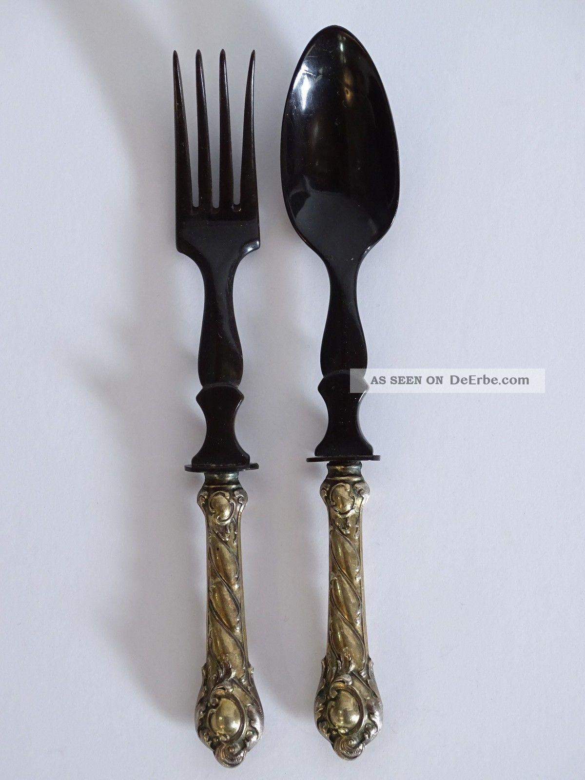 Antikes Salatbesteck Schwarz Aus Bein Oder Horn Mit Silbernem Griff Um 1900 Beinarbeiten Bild
