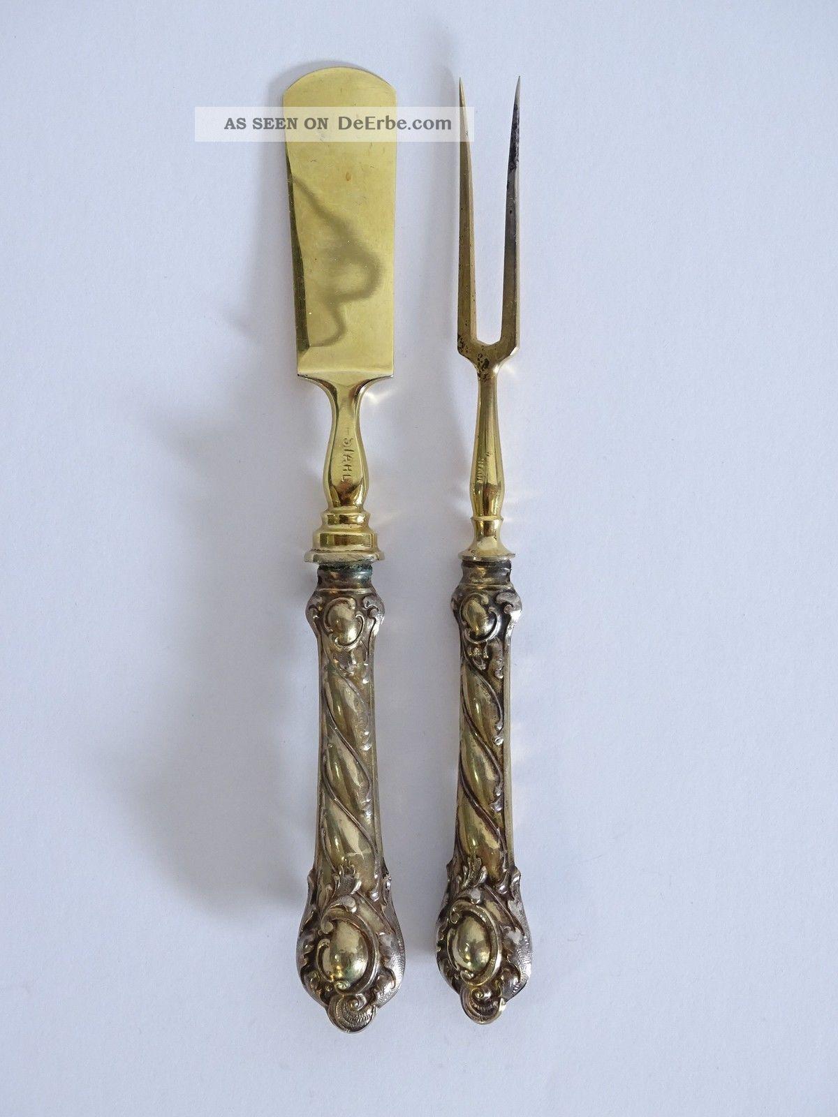 Antikes Vorlegebesteck Gabel Und Buttermesser Mit Silbernem Griff Um 1900 Haushalt Bild
