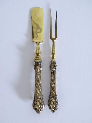 Antikes Vorlegebesteck Gabel Und Buttermesser Mit Silbernem Griff Um 1900 Bild