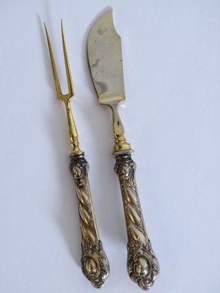 Antikes Vorlegebesteck Gabel Und Käsemesser Mit Silbernem Griff Um 1900 Bild