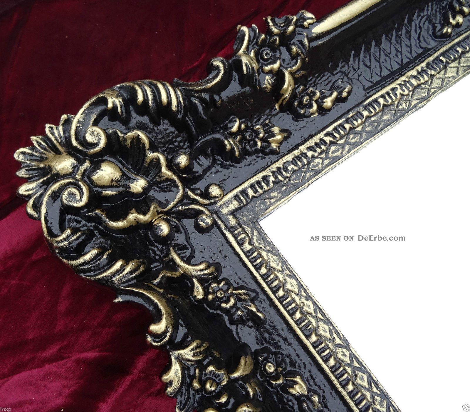 Xxl Wandspiegel Rechteckig Schwarz Gold Barock Wanddeko Antik Spiegel 96x57 Wow Antike Bild