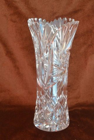 Bleikristall Vase Gezackter Rand - Toller Schliff - Schwer - 29cm Bild