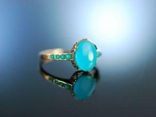 Österreich Um 1870 Historischer TÜrkis Ring Gold 585 Antique Turquoise Bild