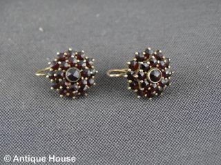 Silber 800 ältere Ohrringe Granat Granatschmuck Vergoldet Bild