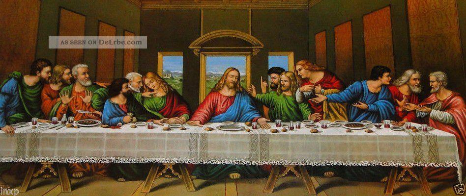 Heiligenbild Gemälde Jesus 12 Apostel Abendmahl Ikonen Antik Barock Weiß 96x57 Ikonen Bild