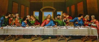 Heiligenbild Gemälde Jesus 12 Apostel Abendmahl Ikonen Antik Barock Weiß 96x57 Bild