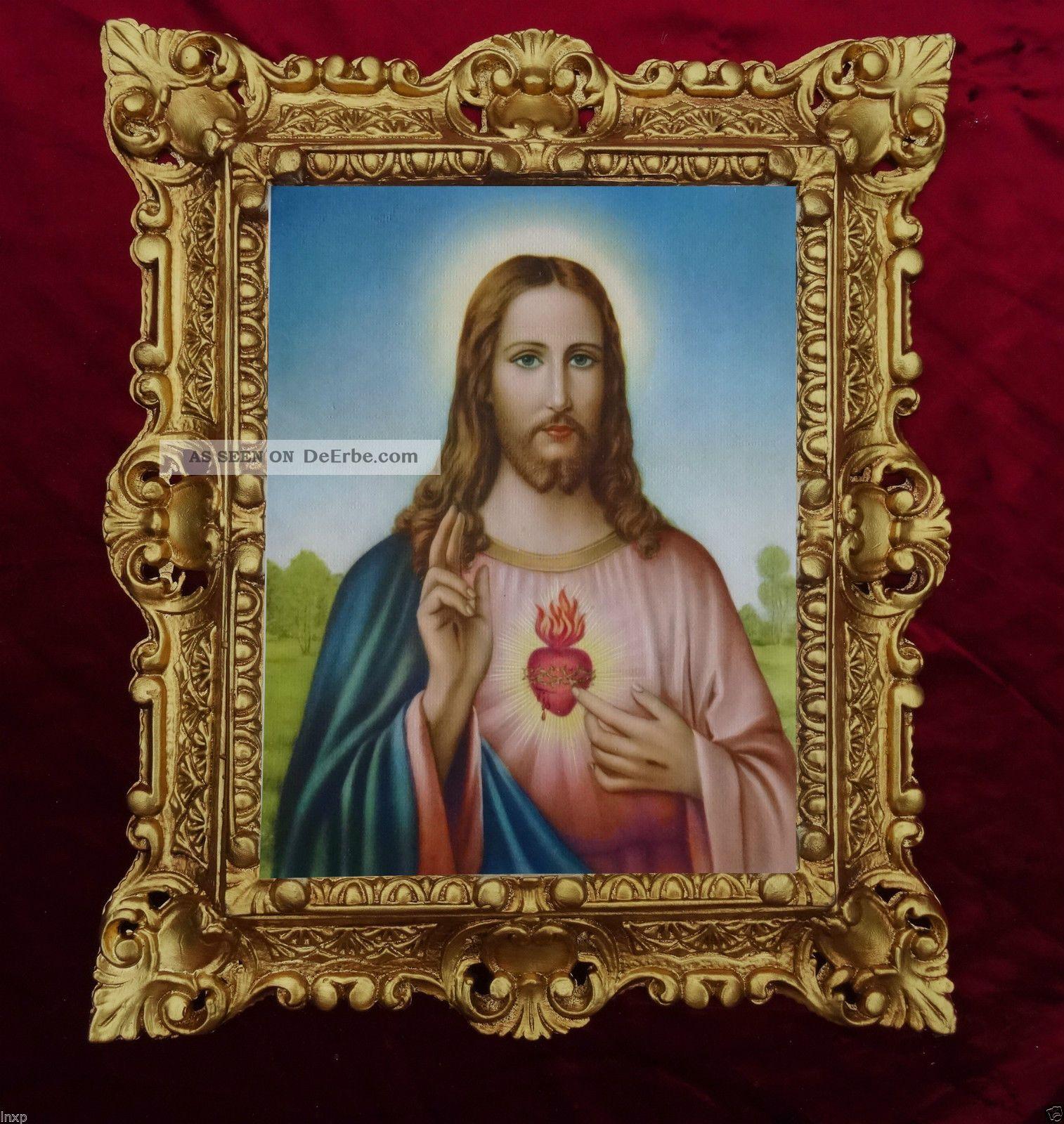 GemÄlde Sacro Cuore Di Gesu Jesus Ikonen Bilder Antik Barock Look 45x38cm 345b Votivbilder & Sakralmalerei Bild