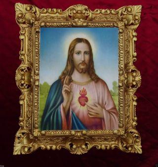 GemÄlde Sacro Cuore Di Gesu Jesus Ikonen Bilder Antik Barock Look 45x38cm 345b Bild