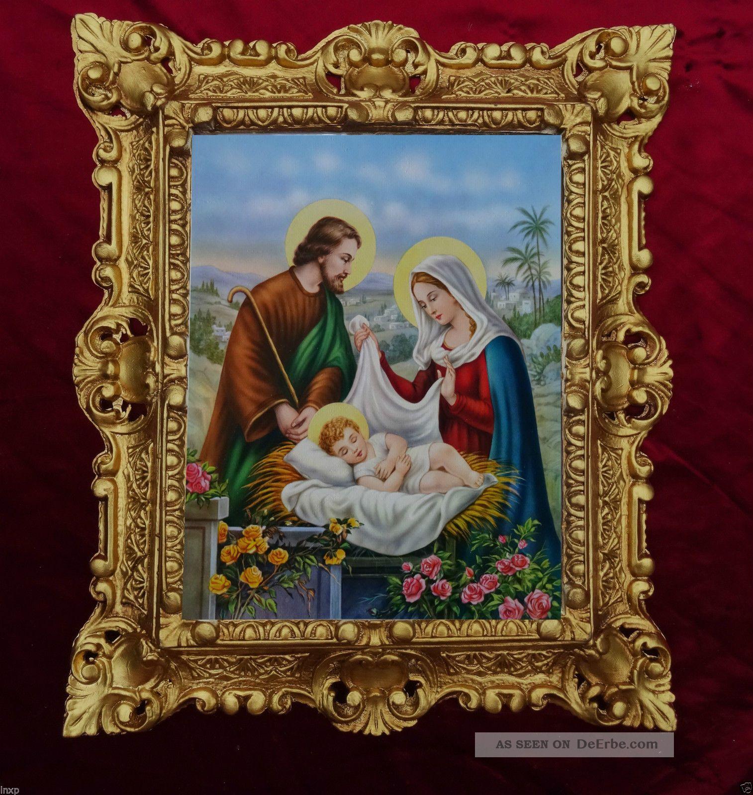 GemÄlde Nativita Di Gesu Bambino Ikonen Bilder Antik Barock Look 45x38cm 345b Votivbilder & Sakralmalerei Bild