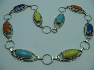 Fischland Schmuck Sehr Seltene Halskette Aus 835 Silber Mit Emaille Bild