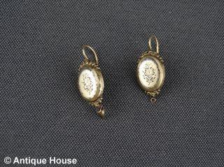 Gold Schaumgold Antikes Paar Ohrringe Medaillon Mit Blüte Zieseliert Bild