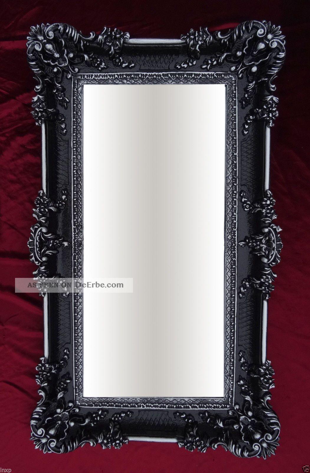 xxl renaissance wandspiegel schwarz silber barock wanddeko repro spiegel 96x57 2. Black Bedroom Furniture Sets. Home Design Ideas