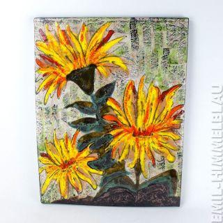 Ruscha Wand Platte Fliese Relief Wgp Wandkeramik Blumen Wall Plaque 780 - 1 Bild
