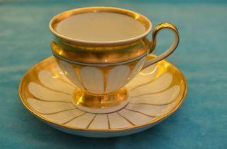 Alte Antike Originale Biedermeier Kpm Kaffeetasse Mit Unterteller Um 1849 - 1870 Bild