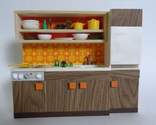 Panton Ära 70er Jahre Puppenstuben Küche Zubehör Küchenzeile Puppen Rarität Bild