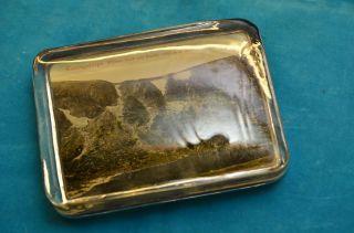 Alter Schwerer Glas Briefbeschwerer Mit Bild Riesengebirge Bild