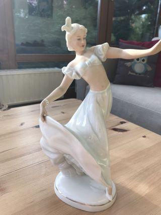 Schaubachkunst Porzellanfigur Figur Alt Tänzerin 1202 Ballerina 25 Cm Bild