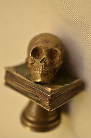 Sammlerstück Alte Antike Ausgefallene Bronze Petschaft Totenkopf Um 1880/1900 Bild