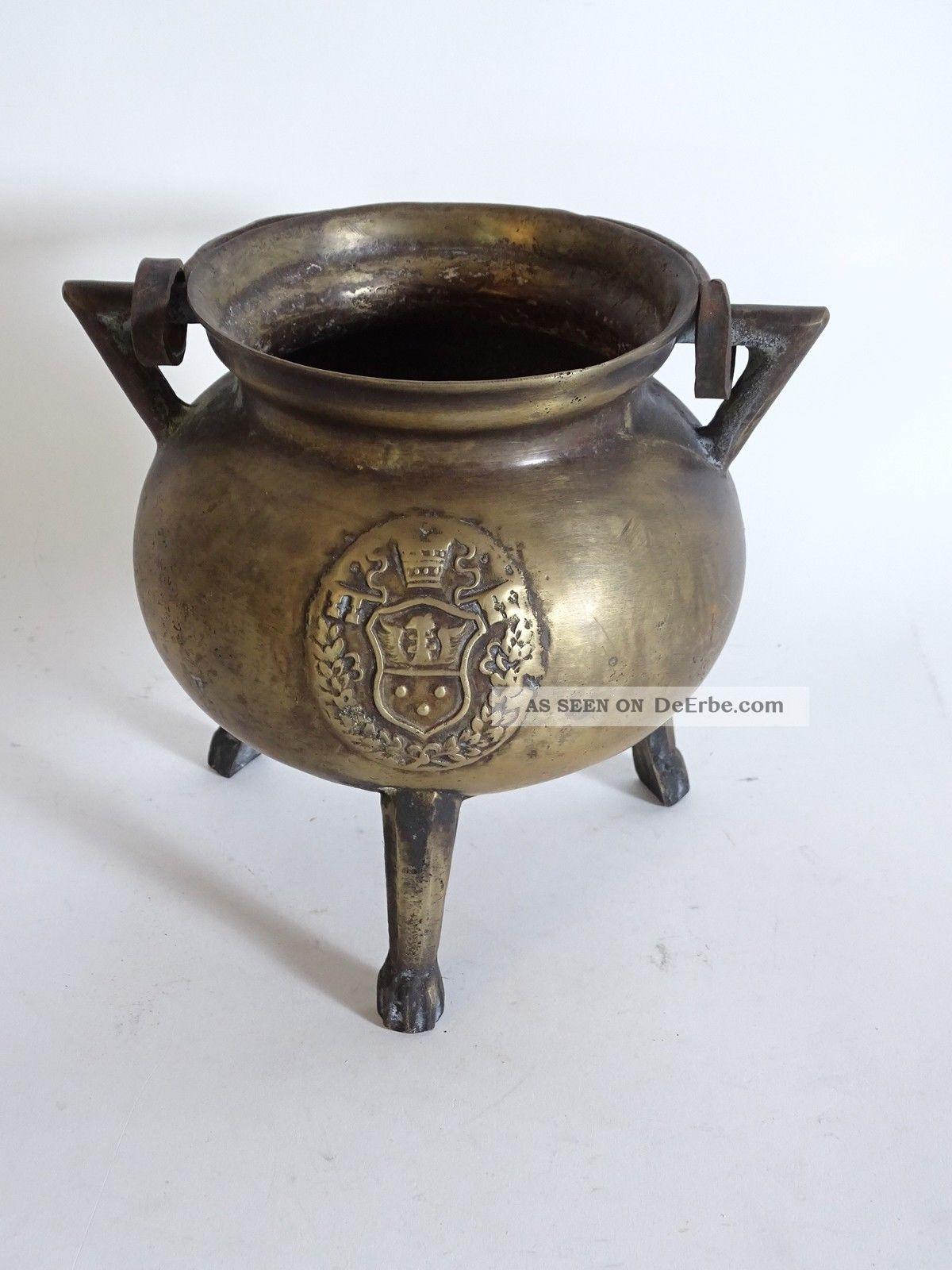 Antiker Sehr Früher Henkeltopf Bronze/messing Mit Wappen Und Tatzenfüßen Bronze Bild