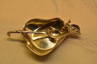 Sammlerstück Alter Silberner Salznapf Schale Silber 800 Mit Löffel Silber 800 Bild