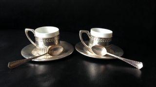 2 Silberne Moccatassen Mit Thomas Porzellan & Passenden Moccalöffeln Um 1910 Bild