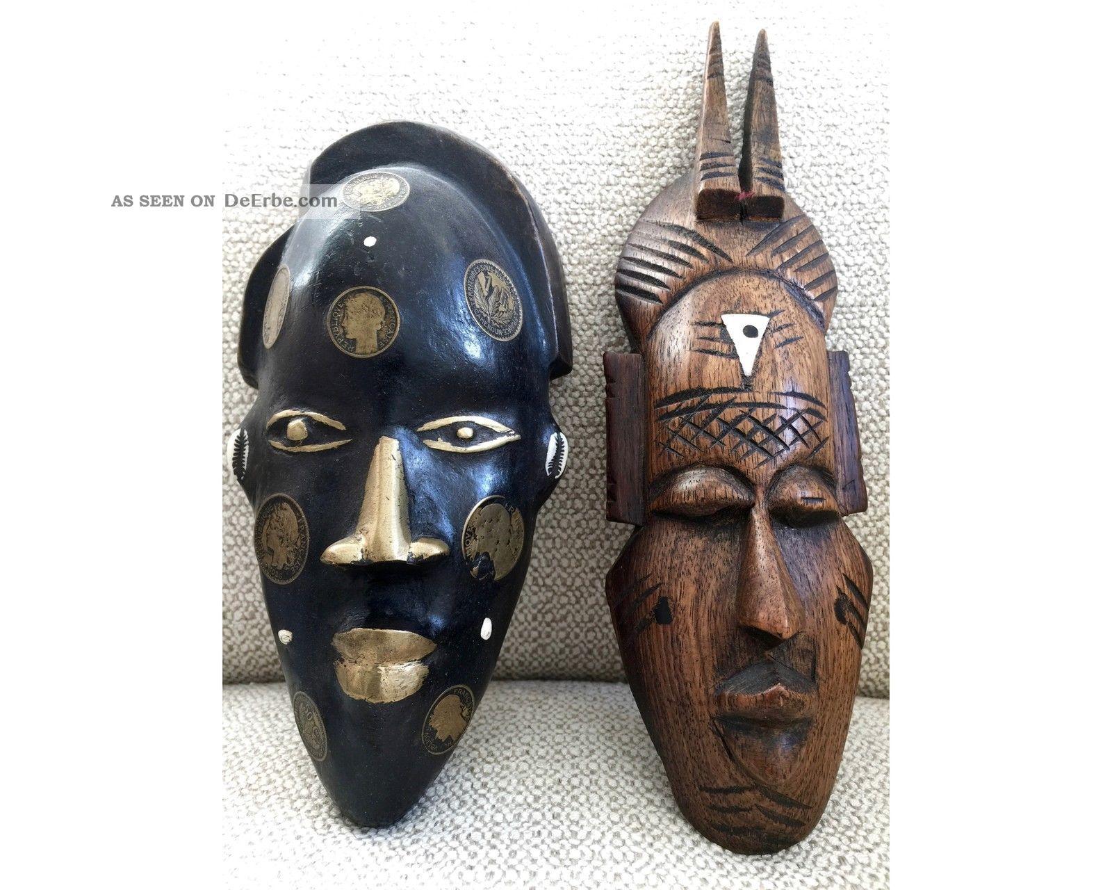 2 Alte Afrikanische Masken Holz Maske Afrika Kamerun Münzen Cameroun 1926 Entstehungszeit nach 1945 Bild