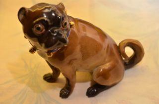 Originale Antike Meissen Figur Französische Bulldogge Um 1815/1880 Restauration Bild