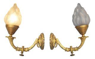Einzelstück Jugendstil Wandleuche Wandlampe Feuervergoldet 1900 Flamme Bild
