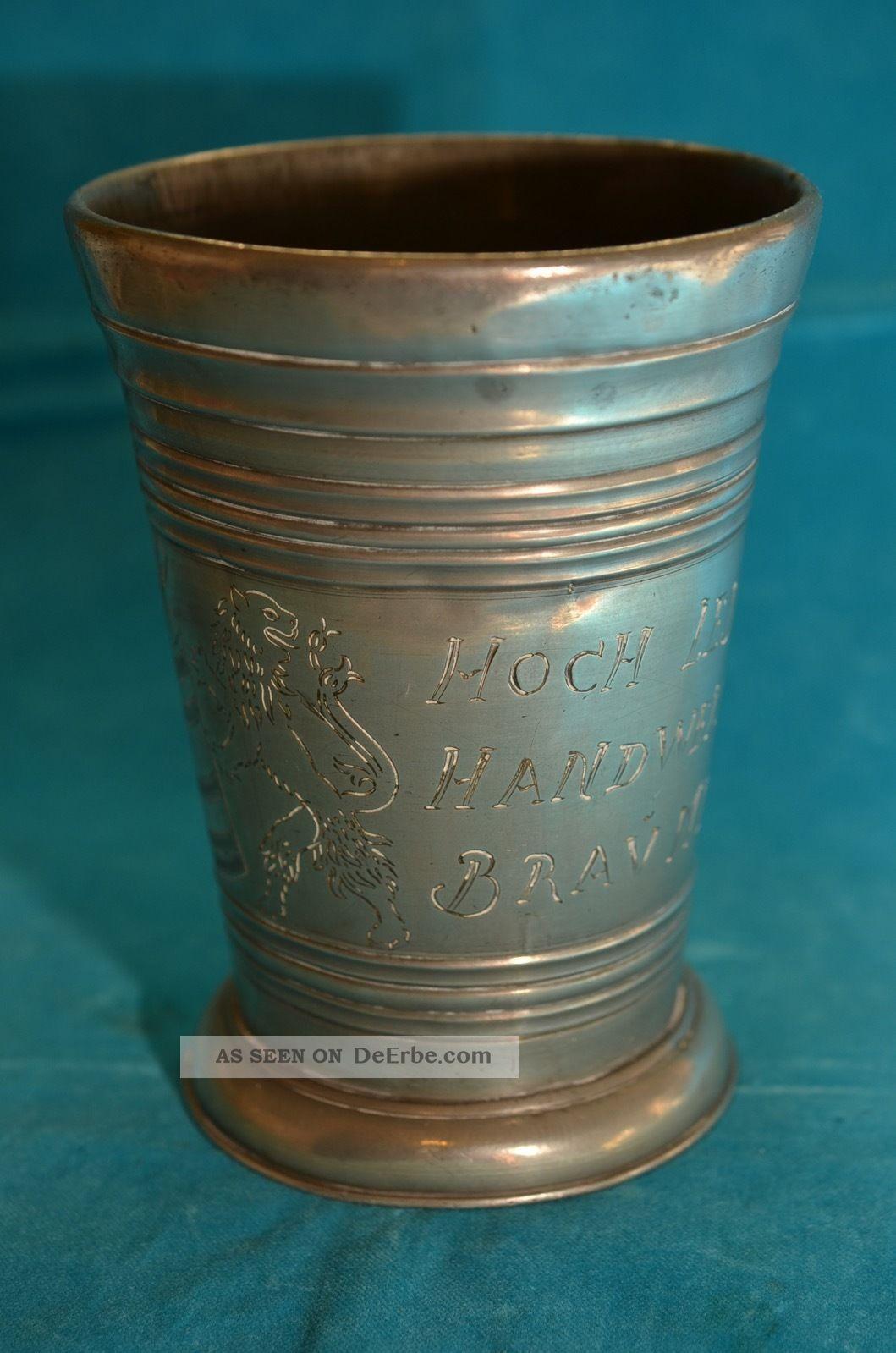 Alter Brauerei Zinn - Pokal Becher 1 Liter Zinn Bild