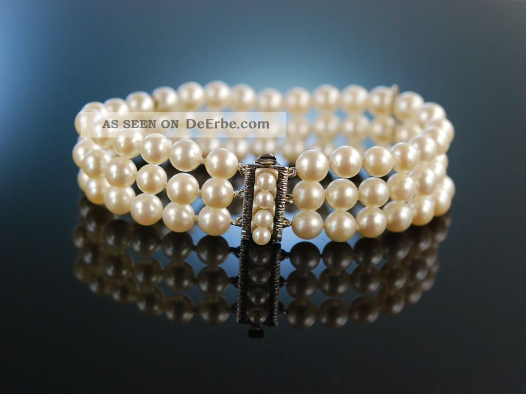 Klassische Perlen Edles Armband 3 Reihig Akoya Zuchtperlen Weiss Gold 585 Schmuck & Accessoires Bild