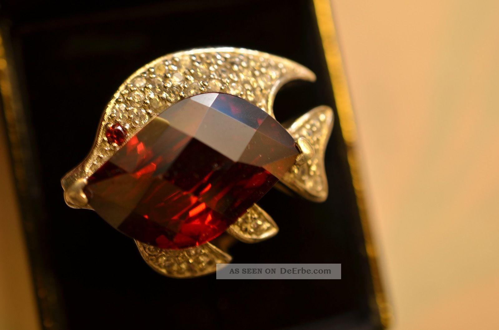 Prunkvoller Ausgefallener Massiv Silber 925 Damenring Fischform Mit Steinen Ringe Bild