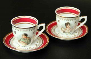 Traum Mocca Tassen - Napoléon Und Joséphine - Porcelaine De Luxe - F.  D.  France Bild