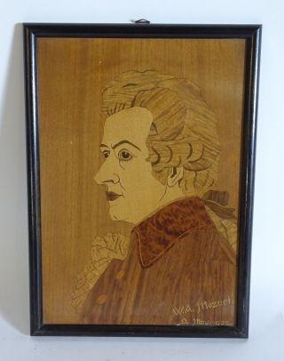 Antikes Holz Intarsien Bild W.  A.  Mozart 1932 Portrait Filigrane Arbeit Bild