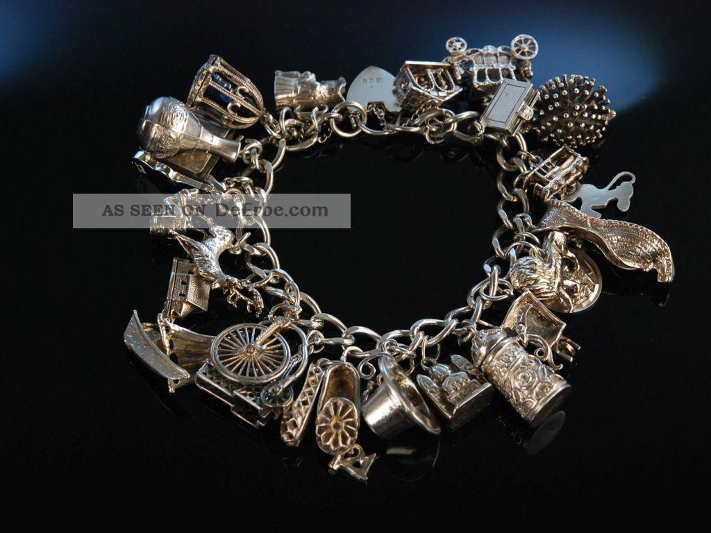 Lovely Charm Bracelet Bettel Armband Sterling Silber 925 England Um London 1975 Schmuck & Accessoires Bild