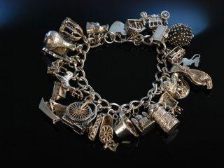 Lovely Charm Bracelet Bettel Armband Sterling Silber 925 England Um London 1975 Bild