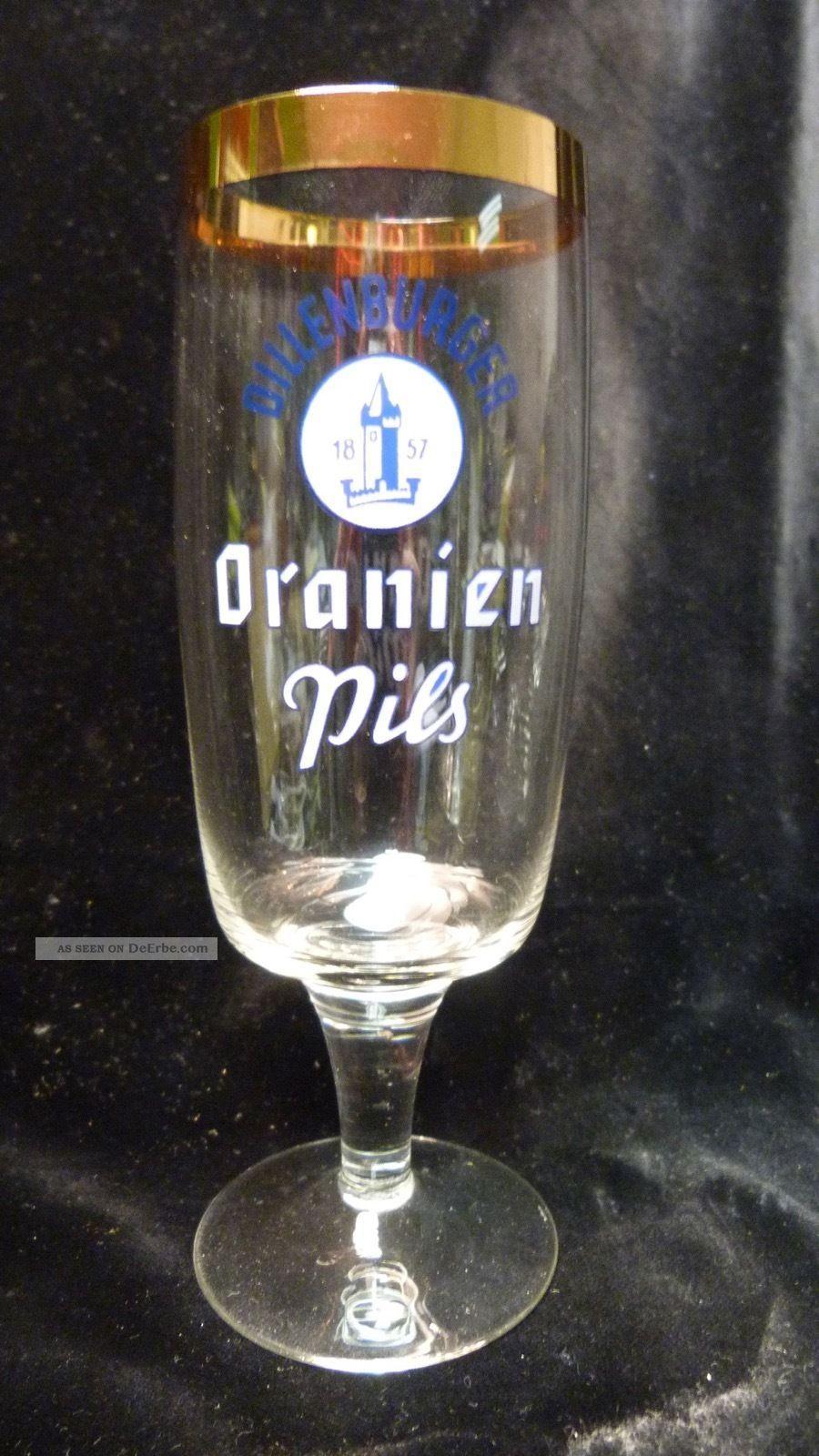 Altes Vintage Bierglas - Dillenburger Oranien Pils - Breiter Goldrand - Ca.  60er Sammlerglas Bild