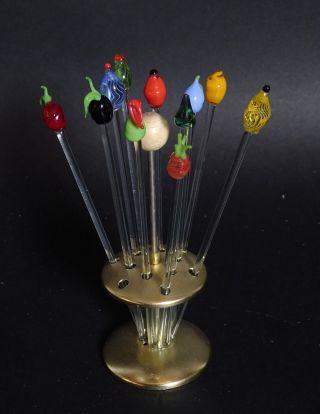 Mid Century 50er Jahre Bowle Spieße Cocktailspieße Mit Glasköpfen Bimini Lauscha Bild