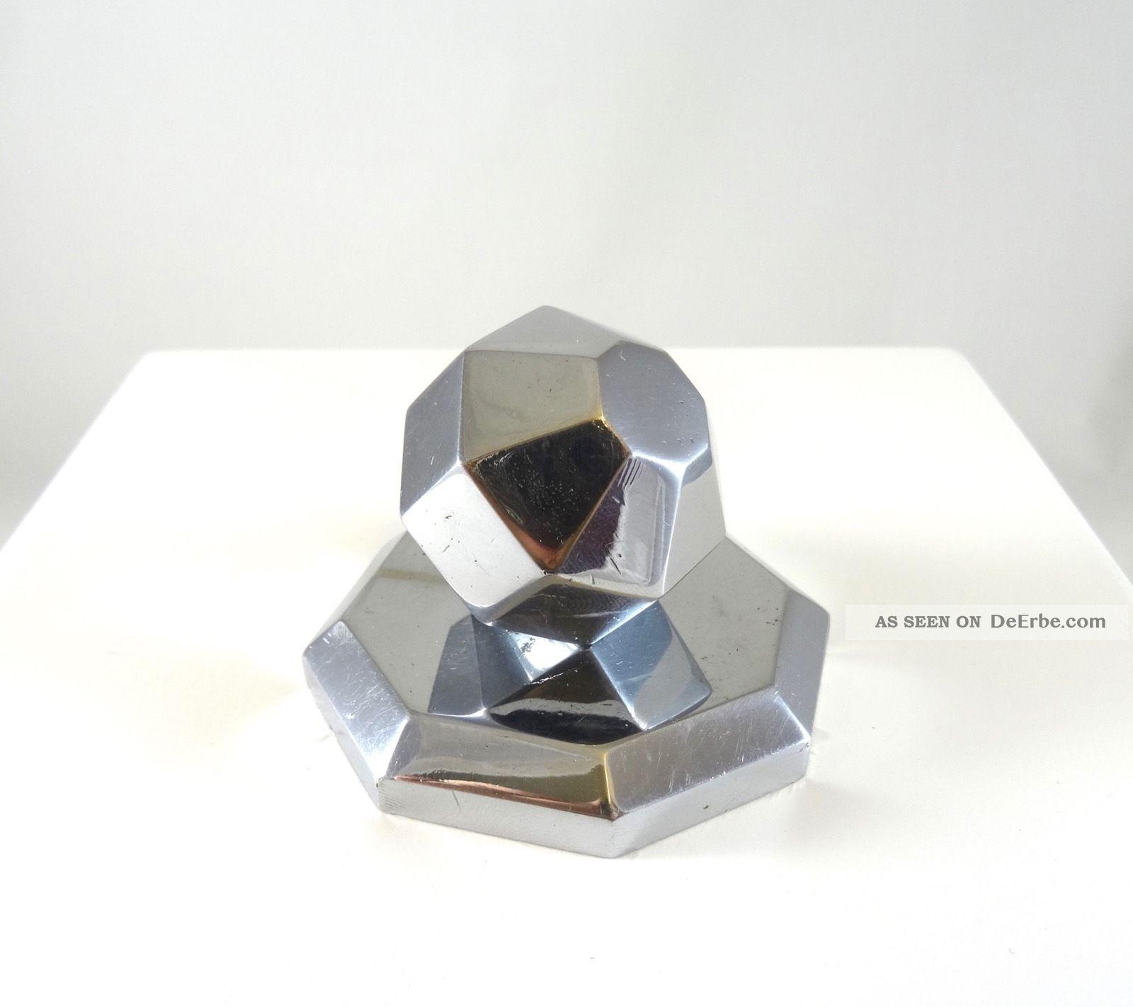 Seltener Art Deco Briefbeschwerer Geometrisch Metallguss Chrom 1930 Antik BÜro 1920-1949, Art Déco Bild
