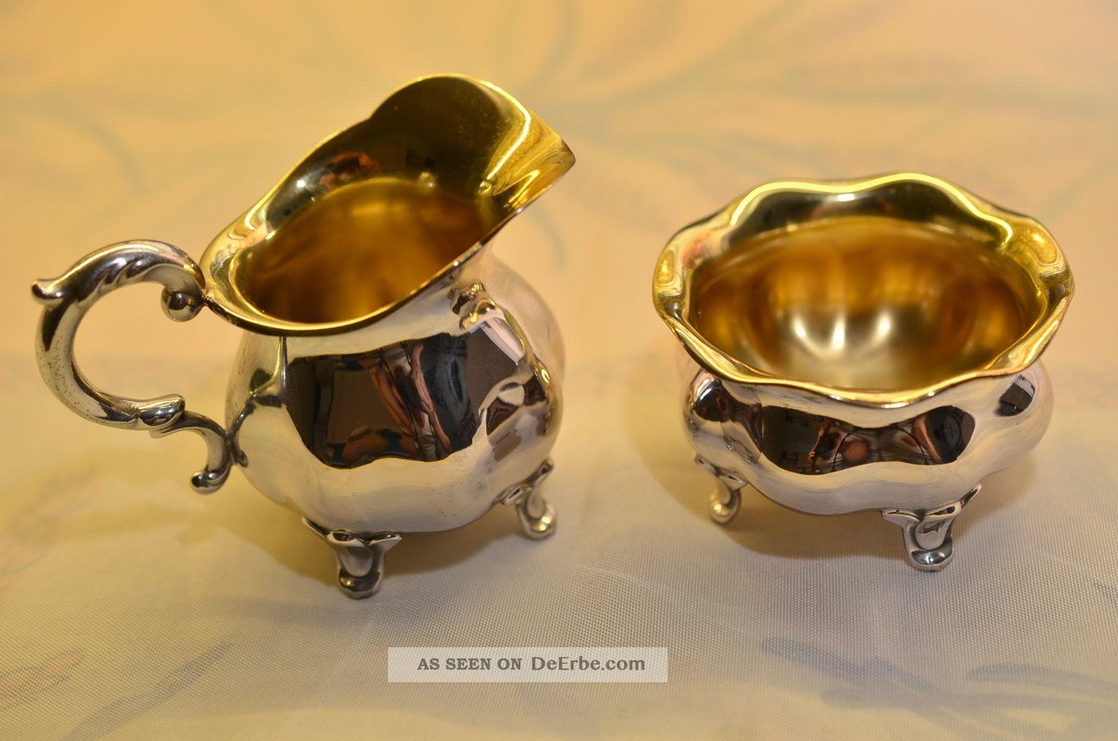 Schönes Wilkens Sahnekännchen Und Zuckerschale Silber 835 Objekte vor 1945 Bild