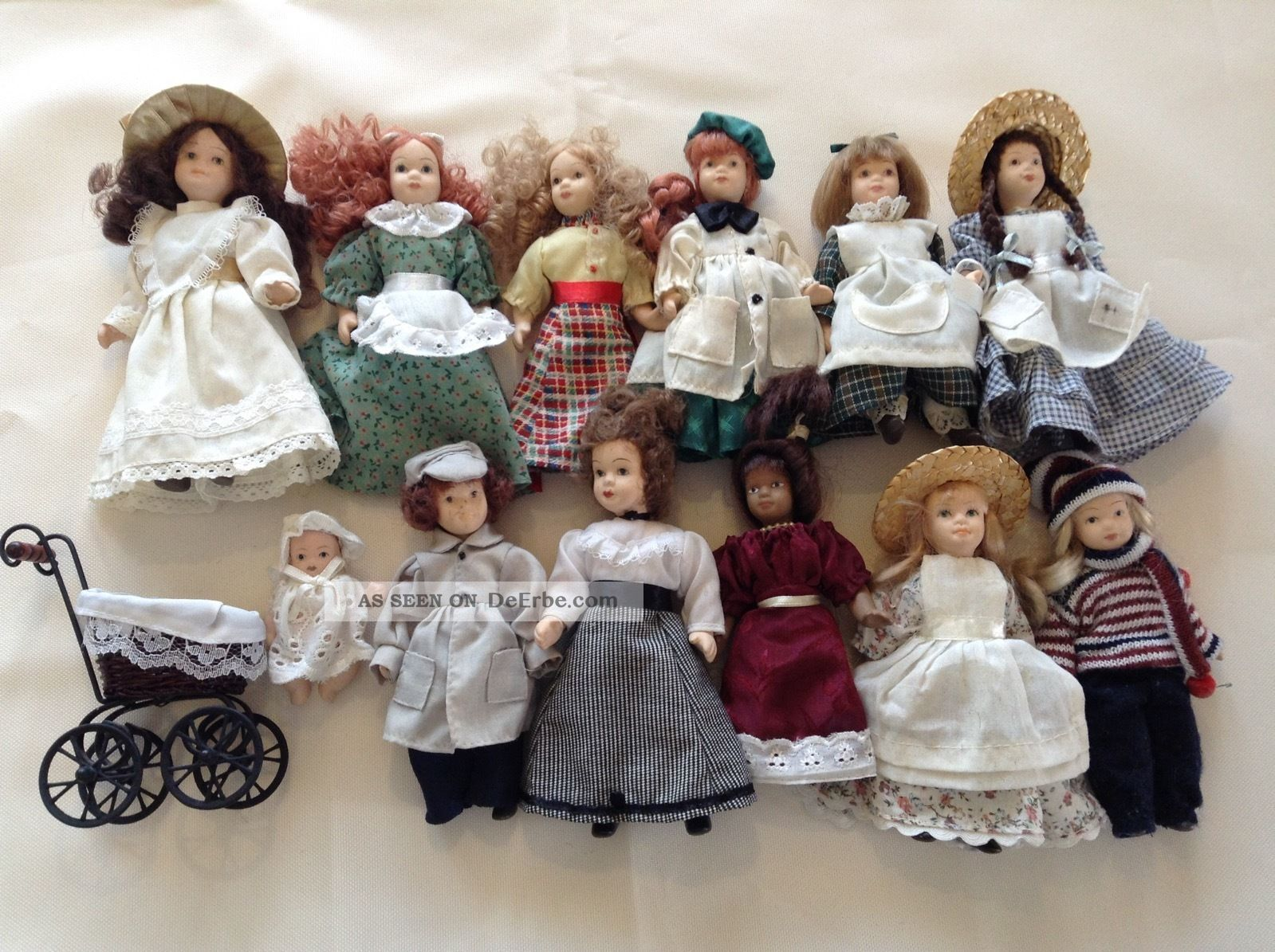 Rar De Agostini Porzellan Puppe Sammlung 11 Puppen 1 Baby Kinderwagen Porzellankopfpuppen Bild