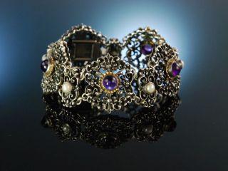 SchÖnes Trachten Armband Amethyst Perlen Silber 825 Um 1950 Bartel & Sohn Bild