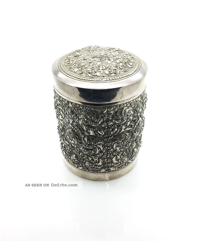 Silberdose Kambodscha Betel Trinket Box Than Cambodge T.  900 Objekte nach 1945 Bild