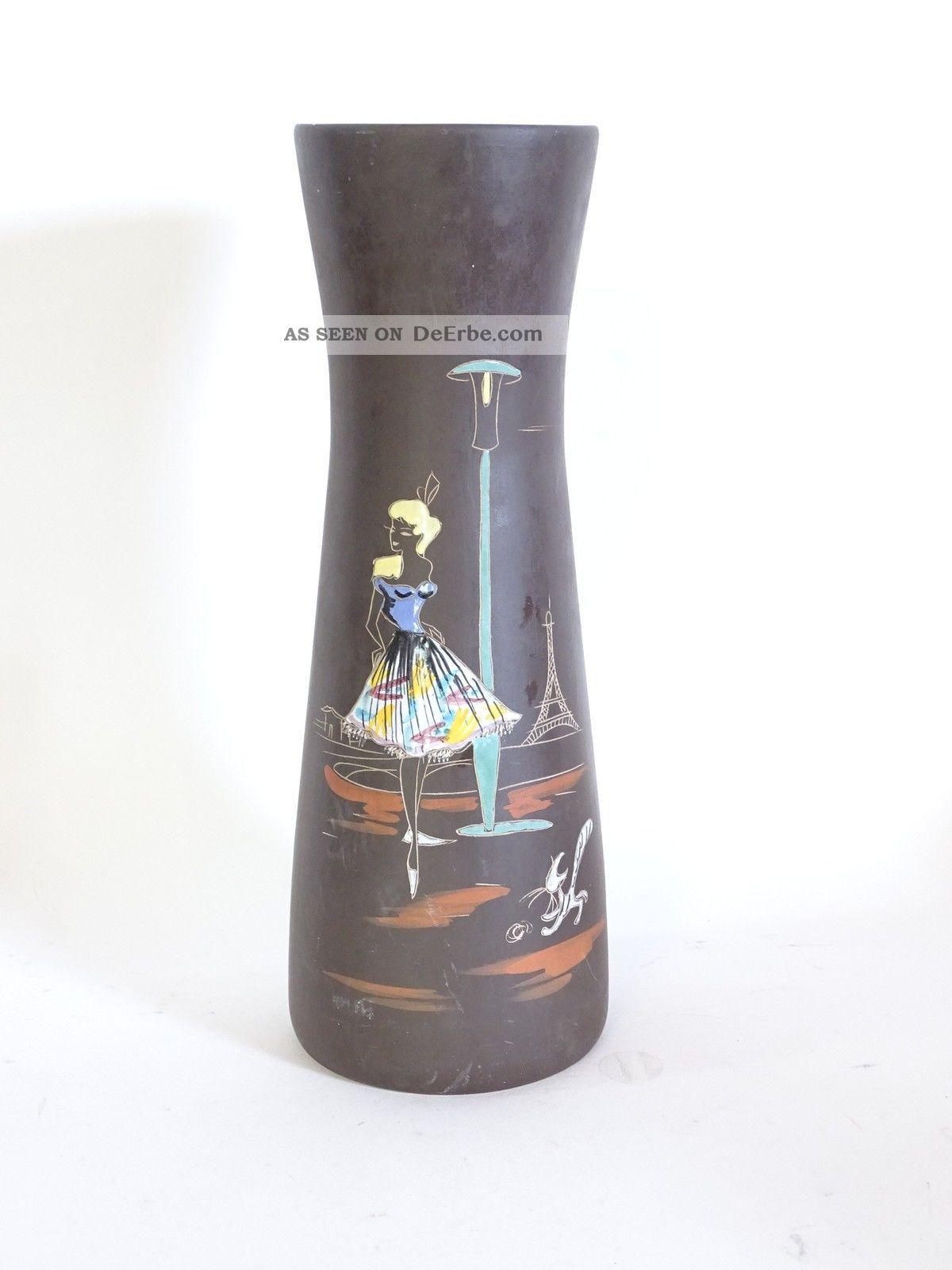 Mid Century 50er Jahre Keramik Vase Paris Tanzendes Mädchen Katze Eifelturm 1950-1959 Bild